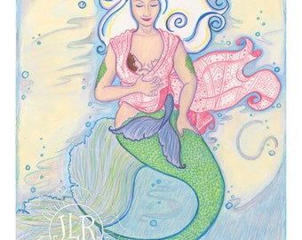 Mermaid and Child Art Print