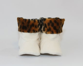 Baby Boot Baby Girl Boot Toddler Girl Boot Soft Sole Boot Winter Boot White Suede Boot Baby Girl Boot Animal Print Boot Faux Fur Boot