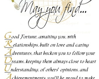 May You Find Graduate College Graduation Poem Personalized 8 X 10 Print