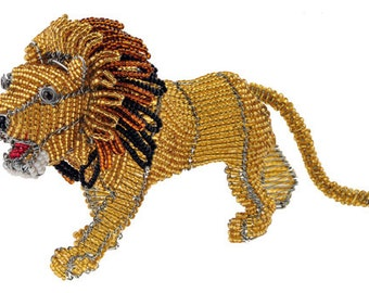 African Fair Trade Beaded Lion - Wireworx wire and glass beaded animal