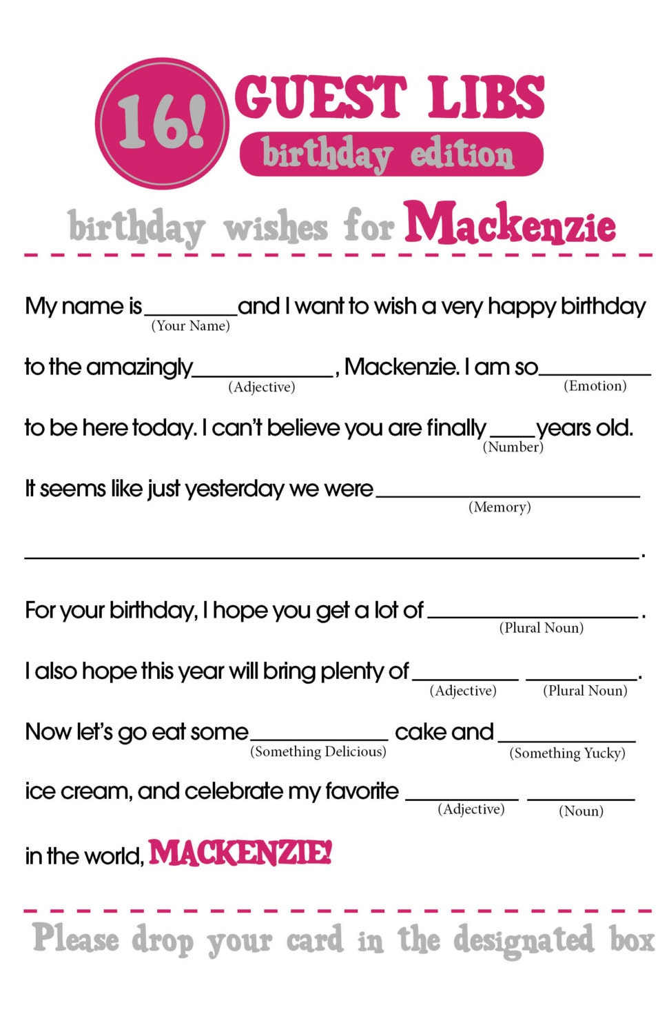 It is a photo of Terrible Happy Birthday Mad Libs Printable