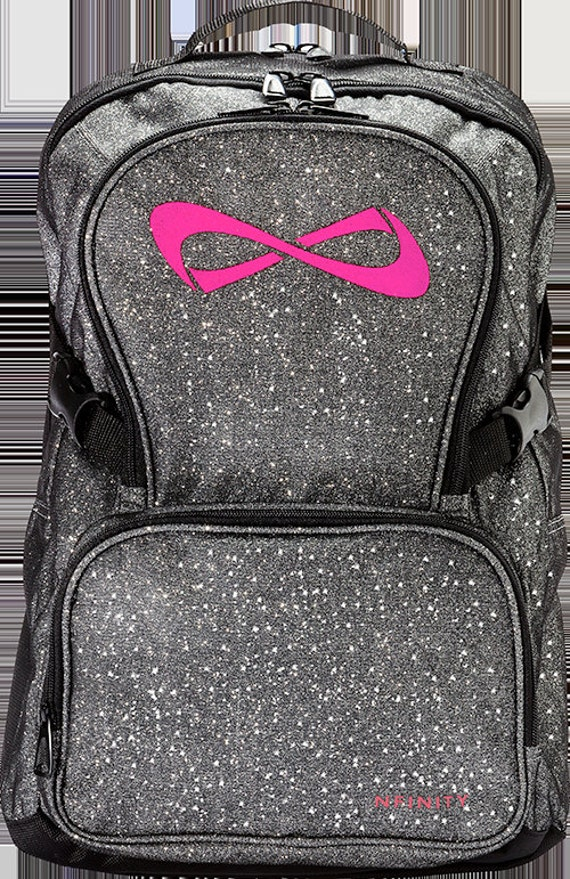 nfinity sparkle backpack gray with pink logo customizable