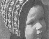 Vintage 1945 Knitting Pattern Children's Fairisle Bonnets Hats - digital file