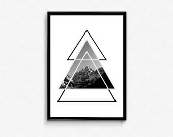 Geometric Triangle Art, Geometric Print, Triangle Print, Mountain Photography, Black and White Triangle, Geometric Triangle