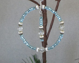 SALE - Light Blue and Silver Wreath Ornament