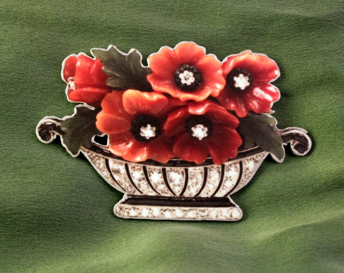 Spring Summer Faux Antique Vintage White Gold Red Flower Basket Brooch Pin - Shrink plastic - art - design - fashion