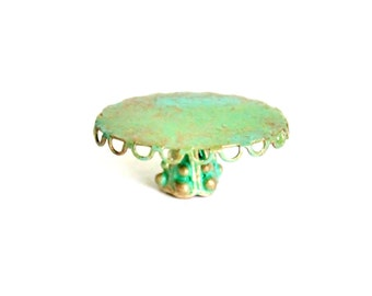 Miniature Patina Oval Stand Dollhouse Fairy Garden Accessory 1:12 Scale