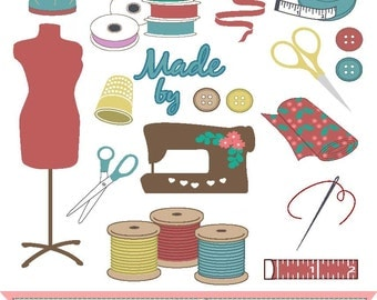 Gallery For > Vintage Sewing Notions Clipart