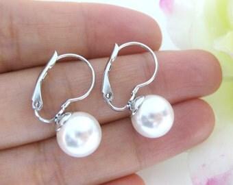Swarovski Round 8mm or 10mm Pearl Earrings Leverback Earrings Drop Earrings Wedding Jewelry Bridesmaid Gift Bridal Earrings (E118)