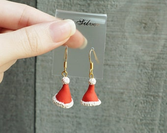 Santa Hat Christmas Earrings