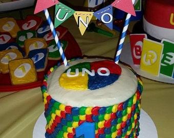 UNO Cake Topper - Bunting - First Birthday Smash Cake Decoration