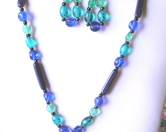 Blue, Black and Green Necklace & Earrings with Handmade Glass Pendant