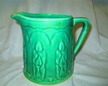 Great Antique Green Pottery Pitcher Tulips around bottom True Green Folk Art Pitcher