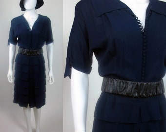 80s Downton Abbey 20s inspired pleated midi length georgette dress