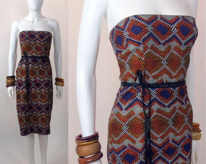 90s African wax printed snakeskin inspired strapless dress - this available through custom order only