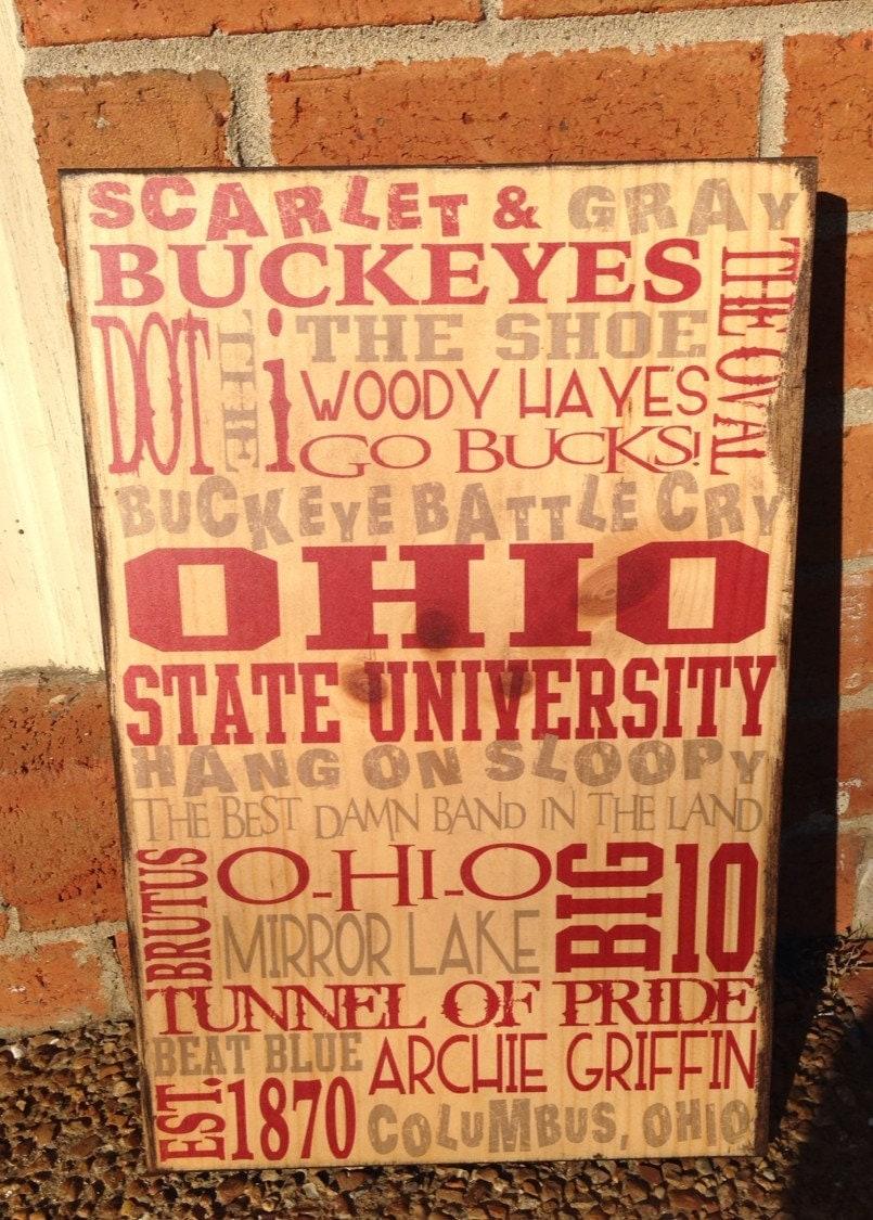 Ohio State Typography Wood Sign, OSU Art On Wood, Buckeyes ...