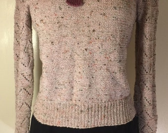 1970s sweater with puff sleeves