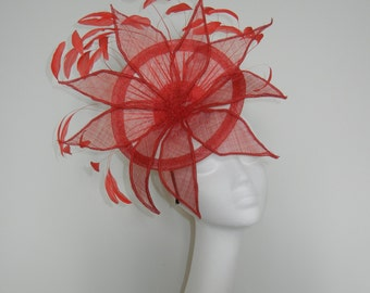 Red and white fascinator, headpiece.