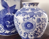 Vintage Hand Painted Blue and White Ginger Jar Chinoiserie Vase