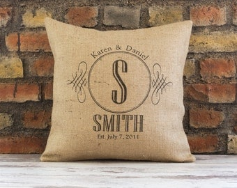 wedding gift, pillow, personalized pillow, family name, anniversary gift, personalized, burlap pillow cover, established date, established