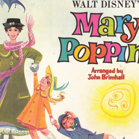 Songs from Walt Disney's Mary Poppins (Highlights for Very Easy Piano) - Vintage Sheet Music - Pub. 1966