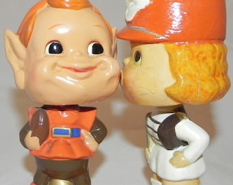 Early 1960's Cleveland Browns Kissing Series Nodder Pair - Antique NFL Football Bobblehead Nodders