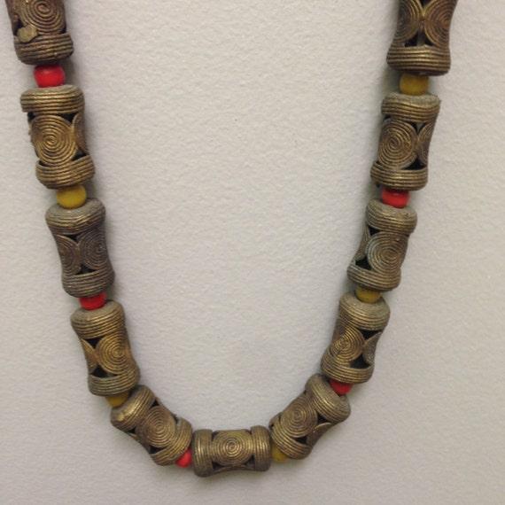 Beads African Baule Brass Bead Strand Ivory Coast Handmade Handcrafted Brass Beads Coral Glass Strand Jewelry Beads