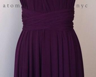 Dark Purple Grape Eggplant SHORT Infinity Dress Convertible Formal Multiway Wrap Bridesmaid Dress Cocktail Evening Wedding