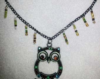 Owl Necklace w/Seed Bead Embelishments