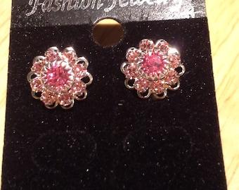 Pink Crystal Rhinestone Studs E 178
