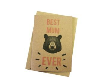 BEST MUM EVER // bear mother's day card