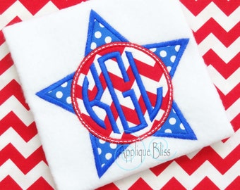 Monogram Star Digital Applique Design - July 4th - Independence Day - 4th of July - Monogram - Machine Embroidery