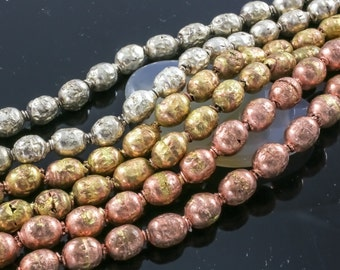 Authentic Ethiopian Brass Beads, Oval 7x10mm, Full 31 Inch Strands. 28""