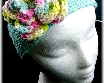 Custom Crochet Girls Spring Pastels Wide Floral Headband Newborn-Adult
