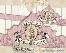 Alice in wonderland crown, queen of wonderland pink /Digital Collage Sheet / Instant Download