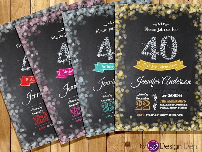 adult 40th birthday invitation  bokeh invitation  diamond