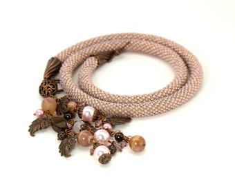 Beige Bead Crochet Necklace Modern Necklace Copper Brown Beige Necklace with Agate Beads Minimalist Necklace Feminine Jewelry Vintage Style
