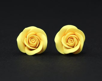 Gift for her Polymer clay jewelry Polymer clay stud earrings Floral stud earrings Roses Floral jewelry Yellow earrings Floral Earrings