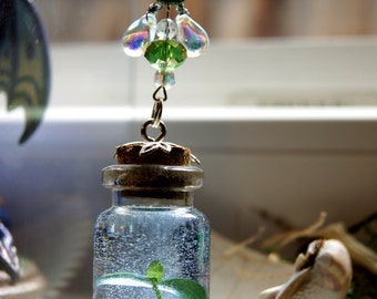 SALE Sapling in a Bottle, plant bottle necklace