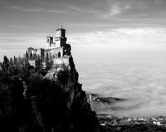Black and white castle photograph, Rocca di San Marino, fortress, castle, Italian landscape, Fine Art print. Black and White, home decor.