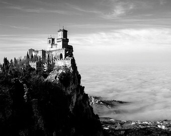 Italy photography, Black and white castle photograph, Rocca di San Marino, Italy landscape, Fine Art print. Black and White, home decor.
