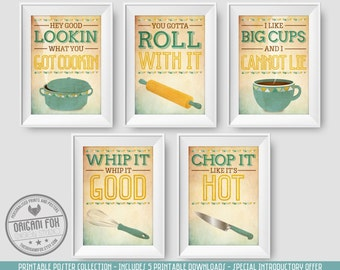 5 Printable Kitchen Posters - Retro Prints - Fun Quotes - Special Offer - A4 Digital Download