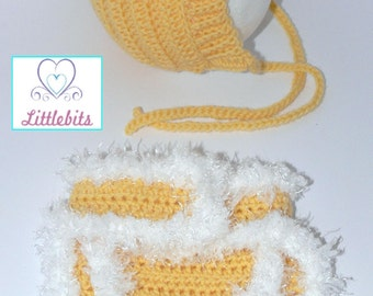 Newborn Baby Crocheted Yellow Pixie Bonnet and matching Diaper Cover.