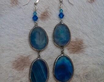 Double Agate Dangle Earrings