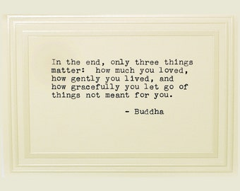 Typewritten Note Card, Ivory, Buddah Quote, Blank Inside, Inspirational Quote,