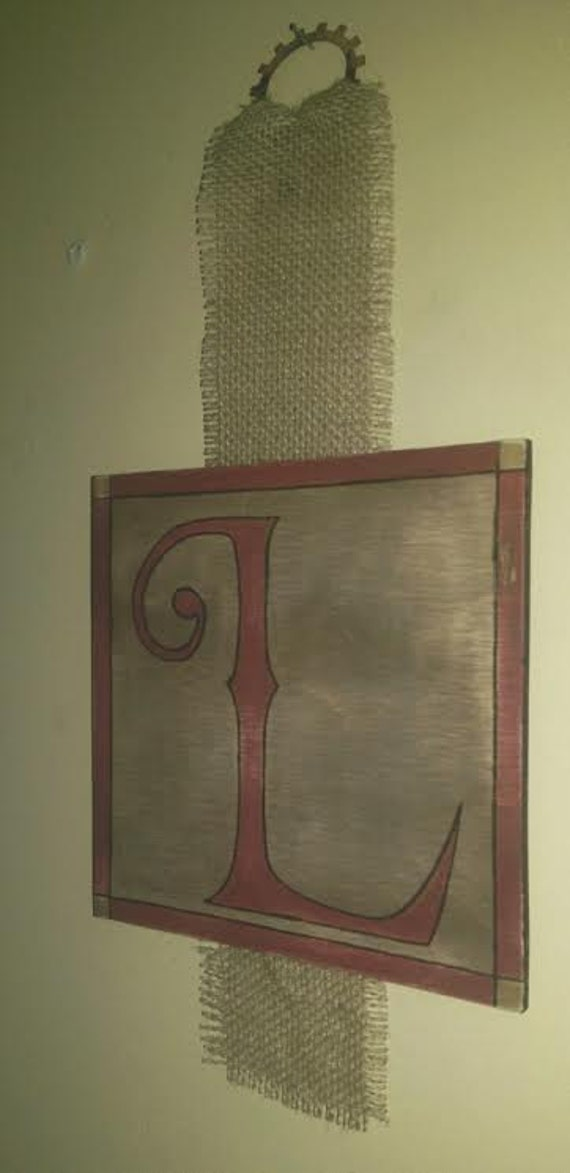 Rustic Monogram Wall Decor : Rustic wall hanging monogram custom burlap woodburning hand