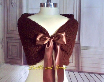 Brown Bridal Wrap/Shrug/ Wedding Wrap/ Caplet/ Bolero /Shawl /Wedding Jacket/Shoulder Cover Crochet Knit