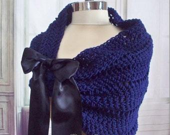 Navy Blue Bridal Shrug Wedding Stole Shoulder Wrap Caplet Bolero Navy Shawl Cowl Bridesmaids Shawl Jacket Shoulder Cover Crochet