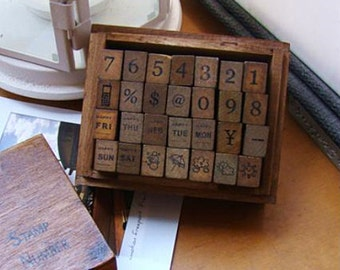 Number&weather Stamps Set - Wooden Rubber Stamps - Diary Stamps - 28pcs