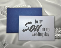Wedding Cards from mom mother of the groom to give to son on wedding day to go with wedding gift shimmer blank note cards present envelopes